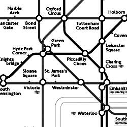 black and white version of the London Underground route map