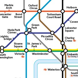 A London Underground (subway) map which shows different stations and routes between the stations. The lines between the stations are different colors, which correspond to different routes.