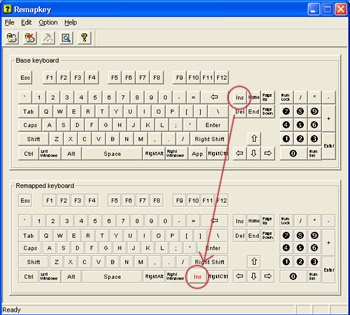 screenshot of Remapkey depicts dragging of Insert key to mapped keyboards App key