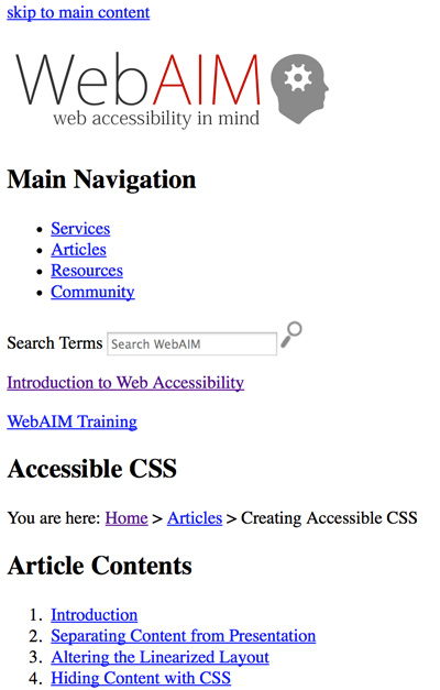 Screenshot of this page with styles disabled. Plain text with only one image is visible
