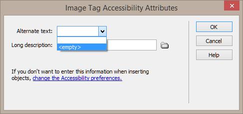 "Screenshot showing empty alternative text being selected <img src=""images/"" width="""" height="""" alt=""Erstellung barrierefreier Inhalte mit Dreamweaver"">"
