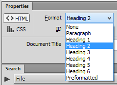 """Expanded Format dialog. The options are: None, Paragraph, Heading levels 1-6, and Preformatted. <img src=""""images/"""" width="""""""" height="""""""" alt=""""Erstellung barrierefreier Inhalte mit Dreamweaver"""">"""