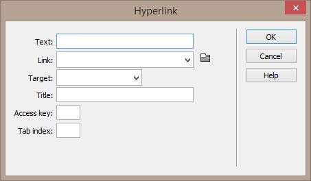 "Screenshot of the Hyperlink dialog. Options include: Text, Link, Title, Access key, Tab index. <img src=""images/"" width="""" height="""" alt=""Erstellung barrierefreier Inhalte mit Dreamweaver"">"
