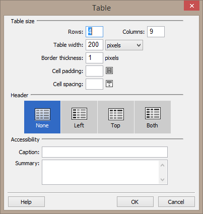 """Screenshot of the table dialog. There are options to change the table size, select the header structure, add a caption, and add a summary <img src=""""images/"""" width="""""""" height="""""""" alt=""""Erstellung barrierefreier Inhalte mit Dreamweaver"""">"""