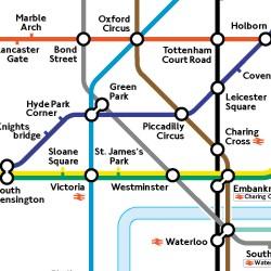 Farbige Karte der U-Bahn-Strecken.