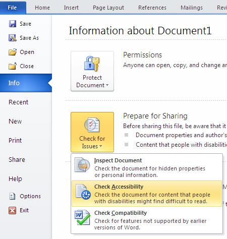 in Word, go to Info, check for issues, check accessibility