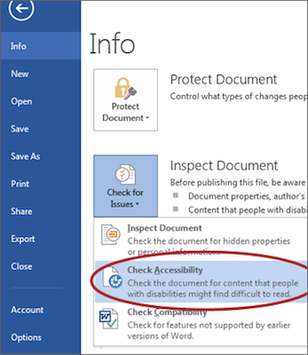Screenshot of check accessebility function in MS Word